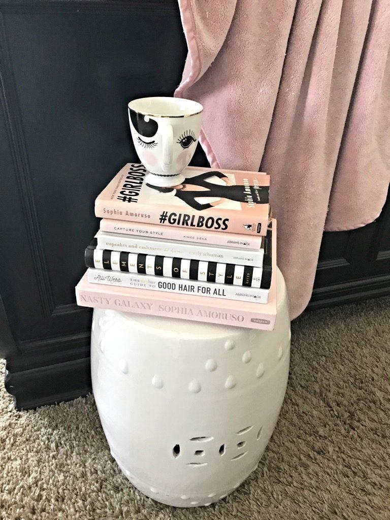 decorator book stack, pink & black, girlboss