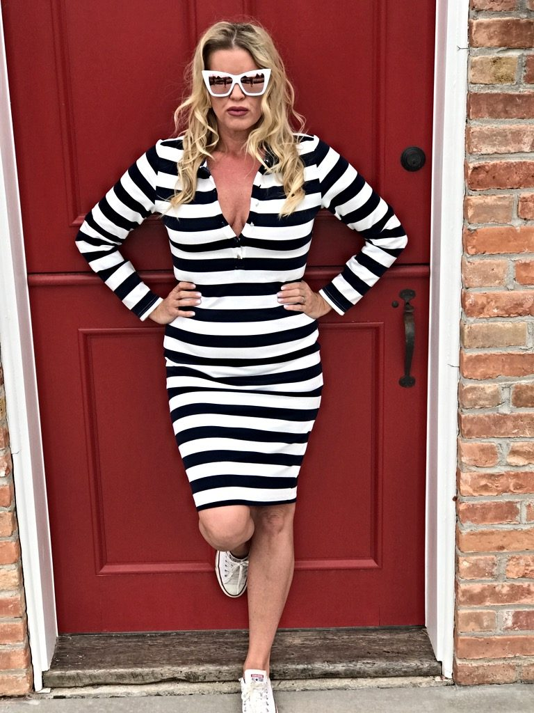 Mikarose stripe jersey dress, vogue Sunglasses, red door outfit