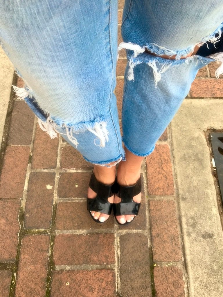 Monday Motivation, Gingham, wedges and distressed denim outfit