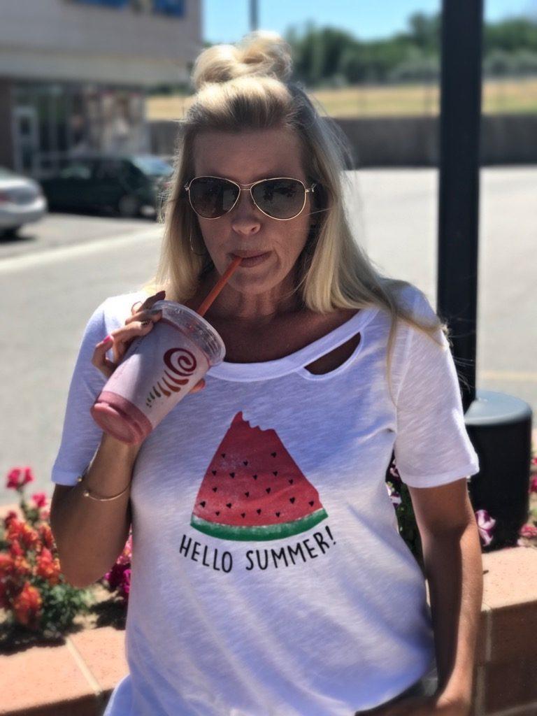 Hello Summer tee, Jamba Juice watermelon smoothie