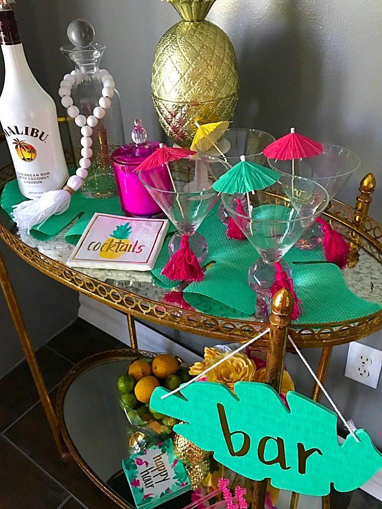 Summer Bar Cart, tropical decor, Hawaiian, Bar cart, Target,homegoods, flamingo's