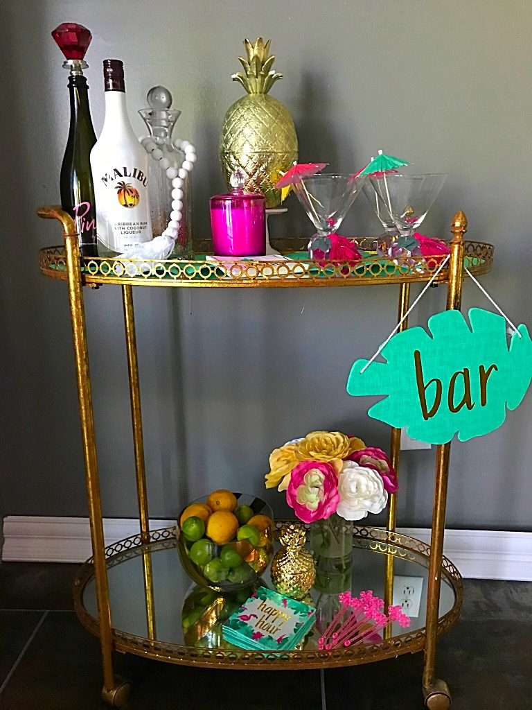 Summer Bar Cart, tropical decor, Hawaiian, Bar cart, Target,homegoods, flamingo's