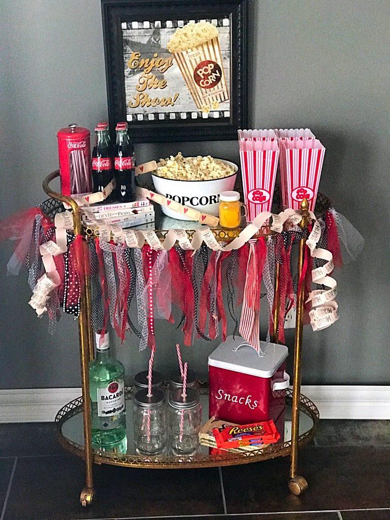 Girl's movie Night Bar cart,popcorn,movies,barcart,rumandcoke.cokecola,ticketsplease,girl's night out, movie night