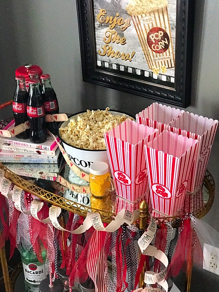 Girl's movie Night Bar cart,popcorn,movies,barcart,rumandcoke.cokecola,ticketsplease,girl's night out, movie night