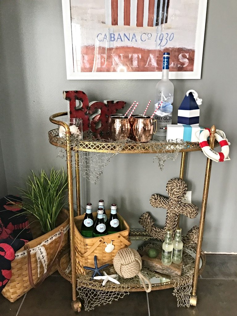 Friday Bar cart styling summer Nautical, Watermelon moscow mules