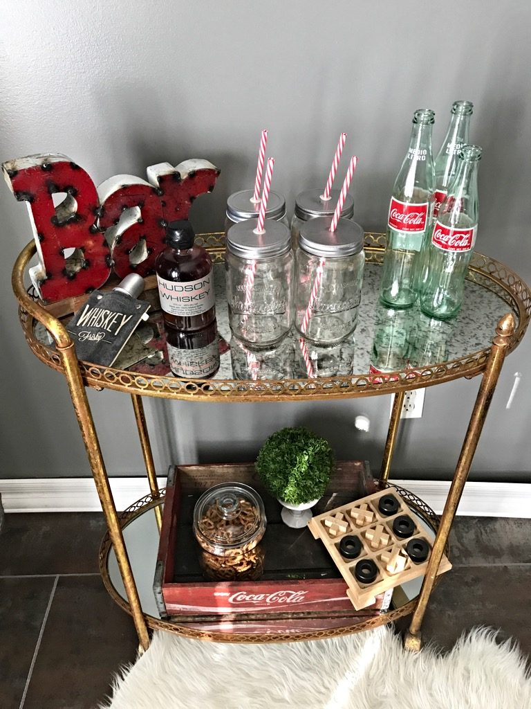 whiskey & Coke bar cart, Friday bar cart styling Game night
