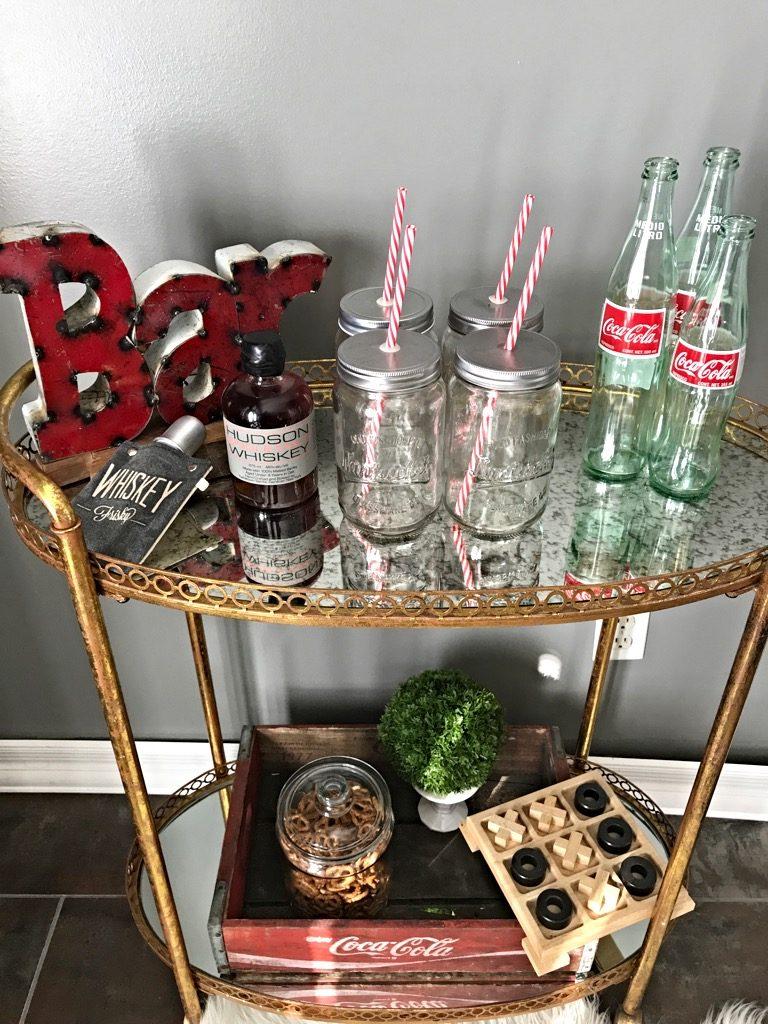 whiskey & Coke bar cart, Friday bar cart styling Game night