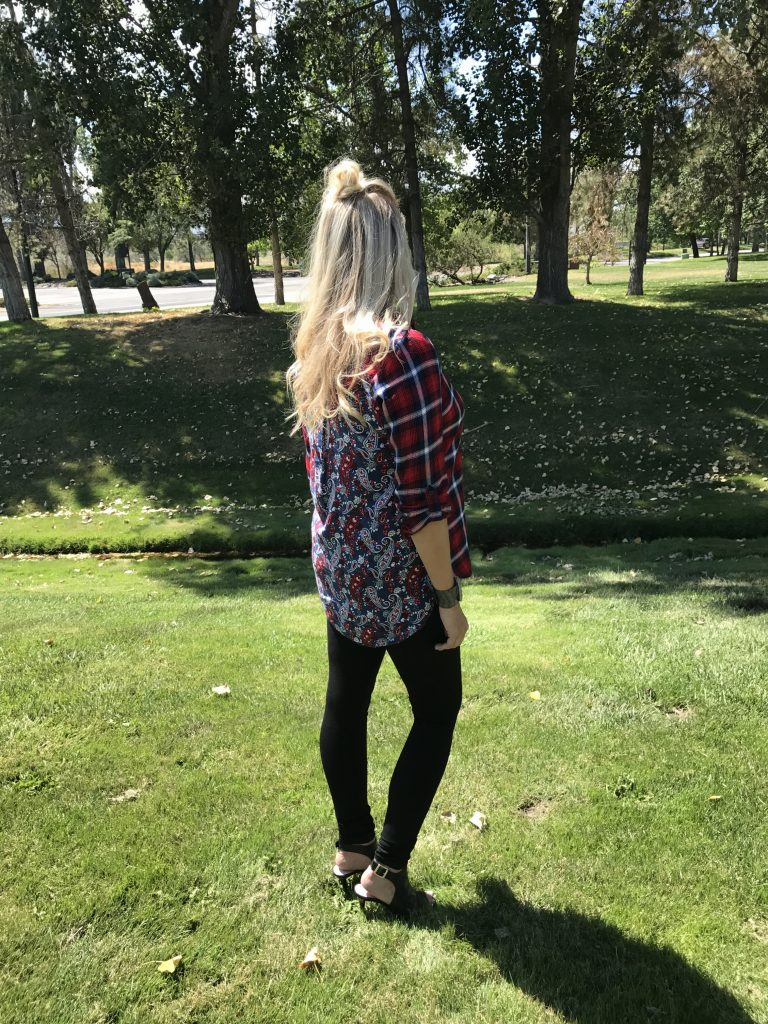 duel printed top, Mia jeans