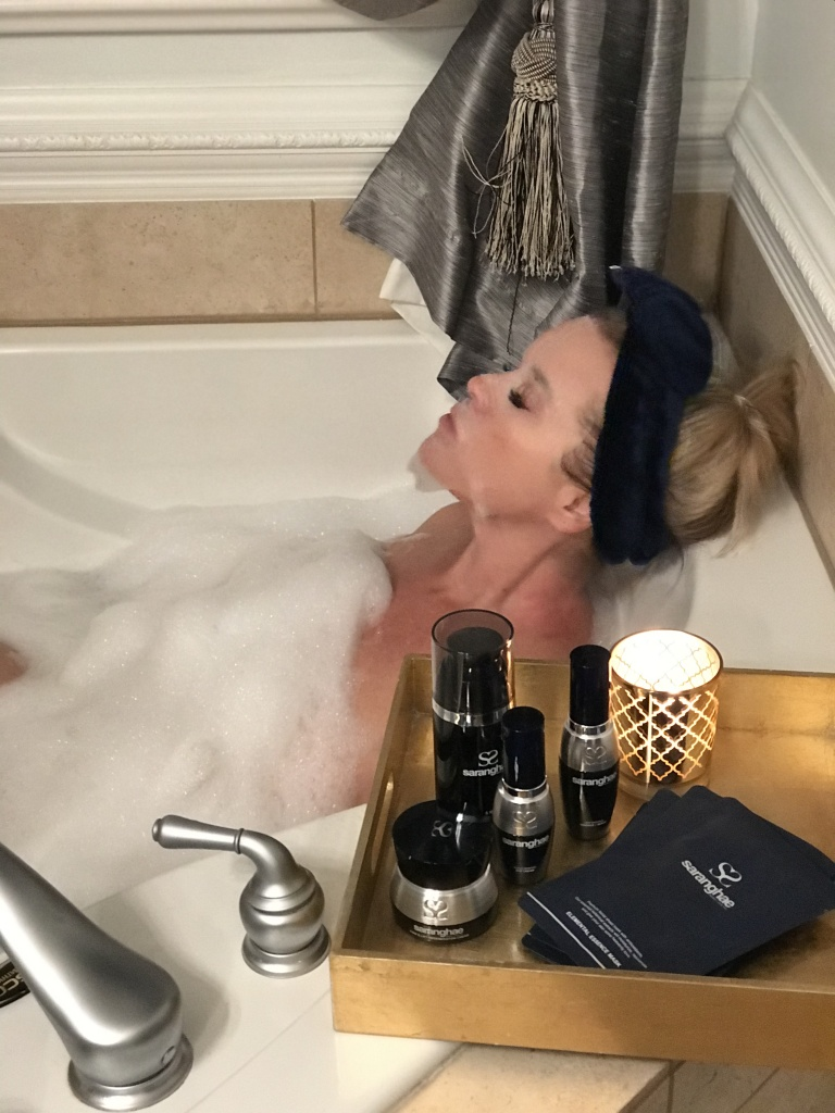 take time to relax with a bubblebath and skin care