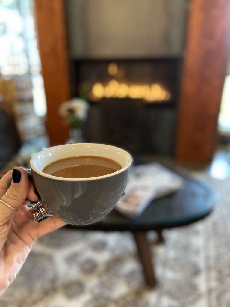 Cup of coffee, relaxing by the fire