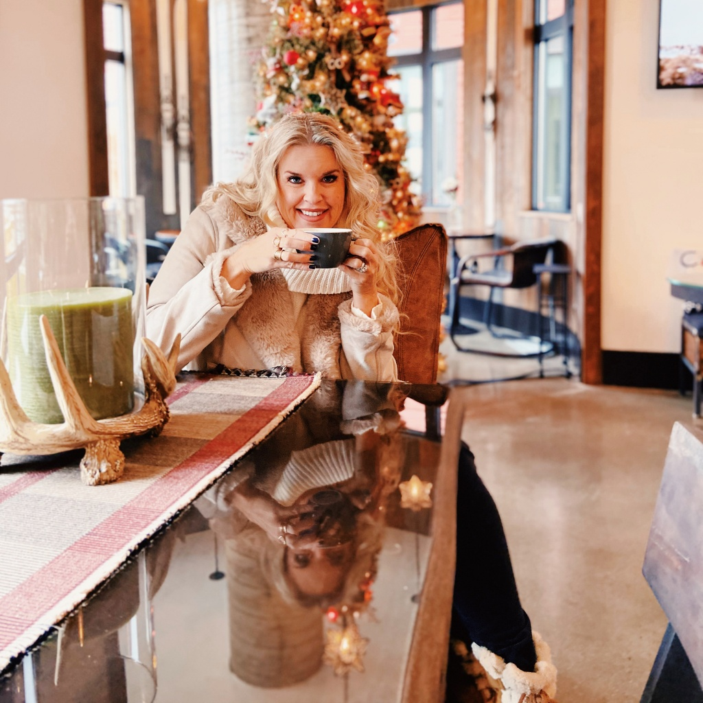 Fur jacket, Cup of coffee, Blond hair, winter outfit